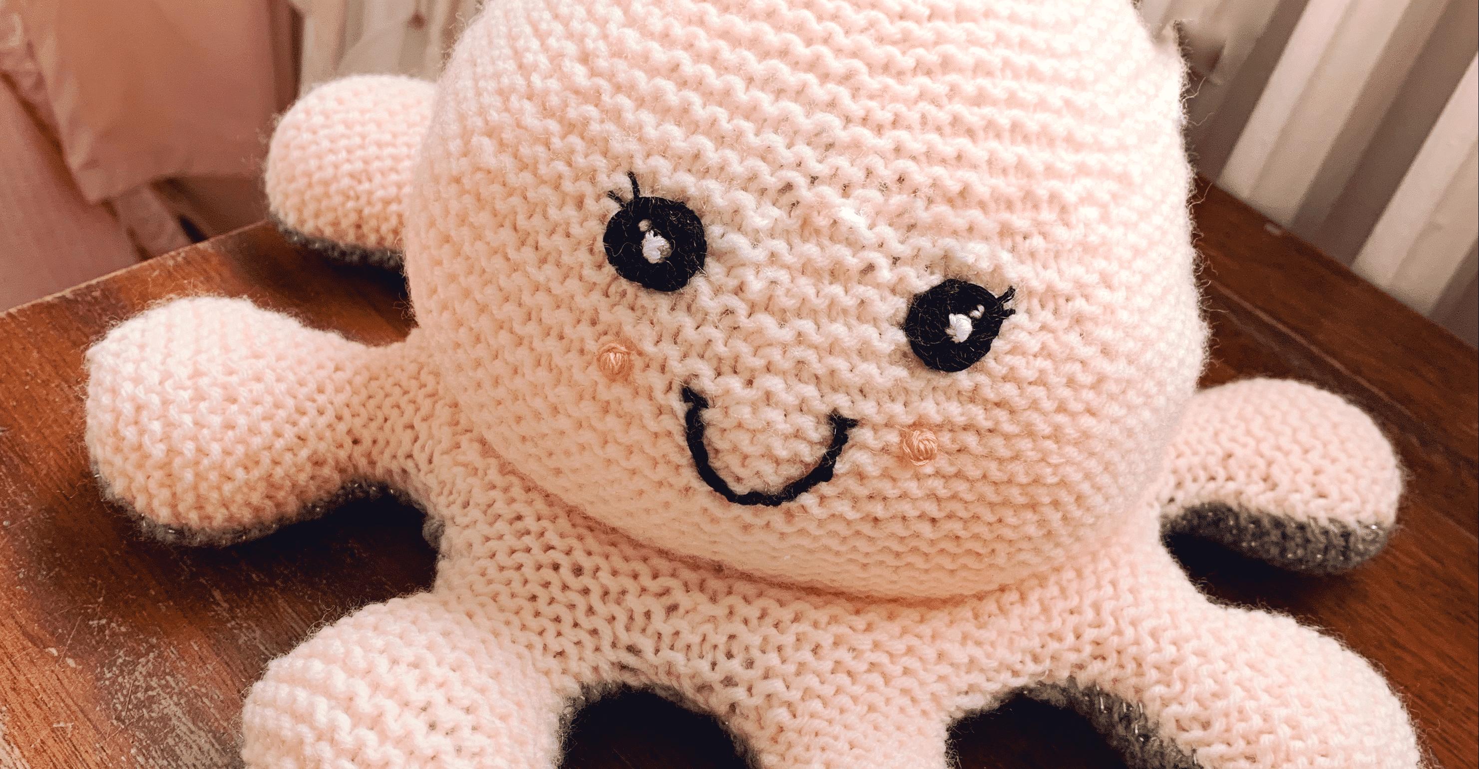 pieuvre reversible rose en tricot