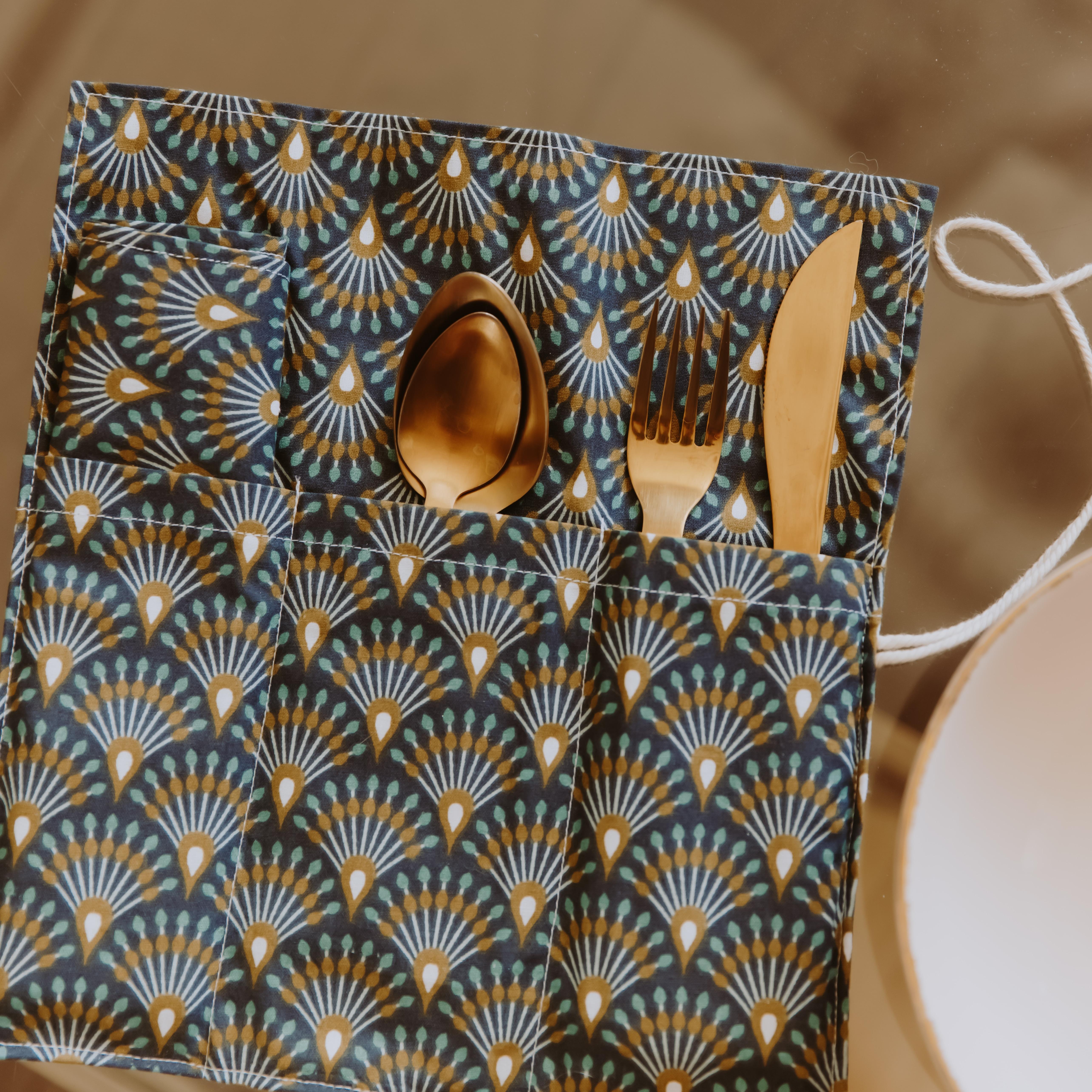 fabriquer pochette tissu pour couverts